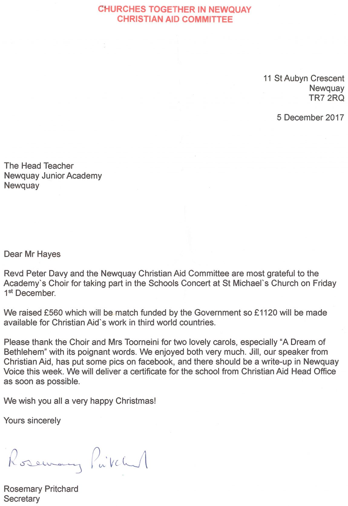 Newquay Christian Aid Letter Cropped Newquay Junior Academy
