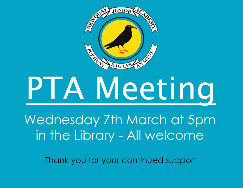 PTA Meeting – Wednesday 7th March