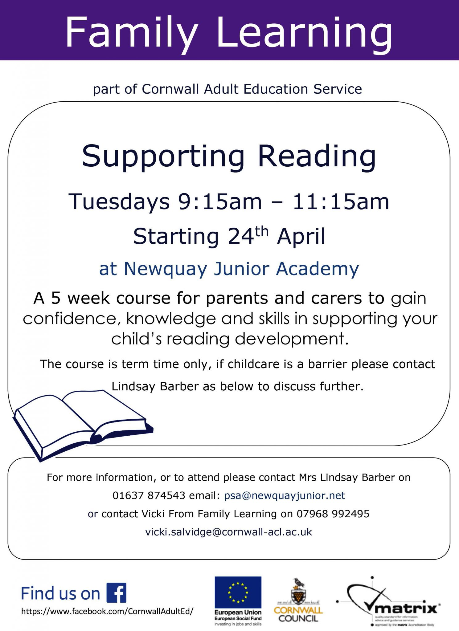 Supporting Reading – Course for Parents and Carers – Newquay