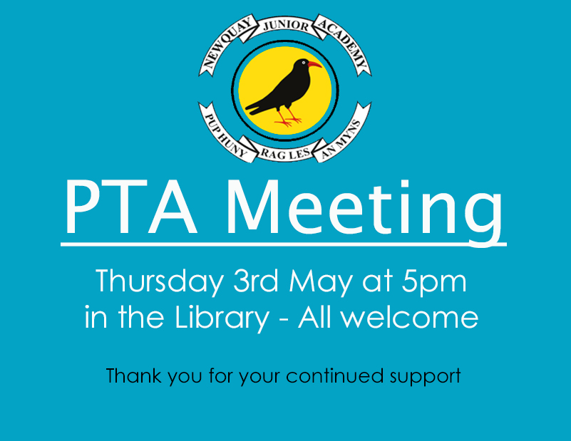 pta meeting thursday 3rd may newquay junior academy