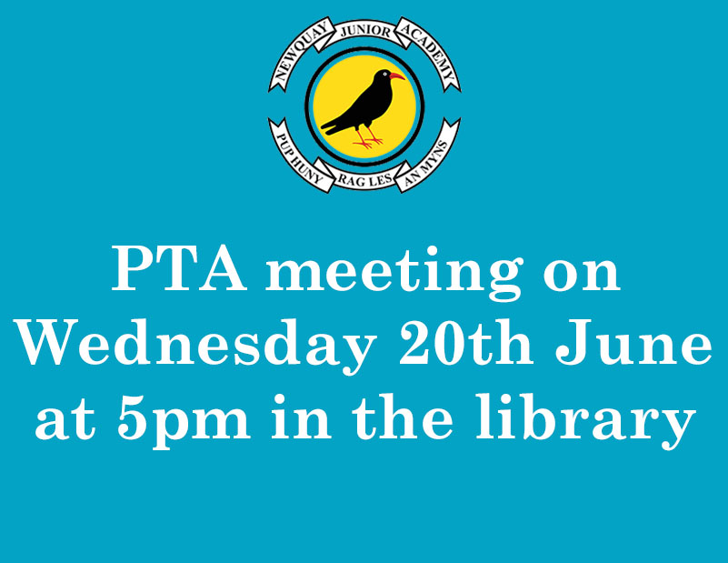 PTA meeting on Wednesday 20th June at 5pm in the library