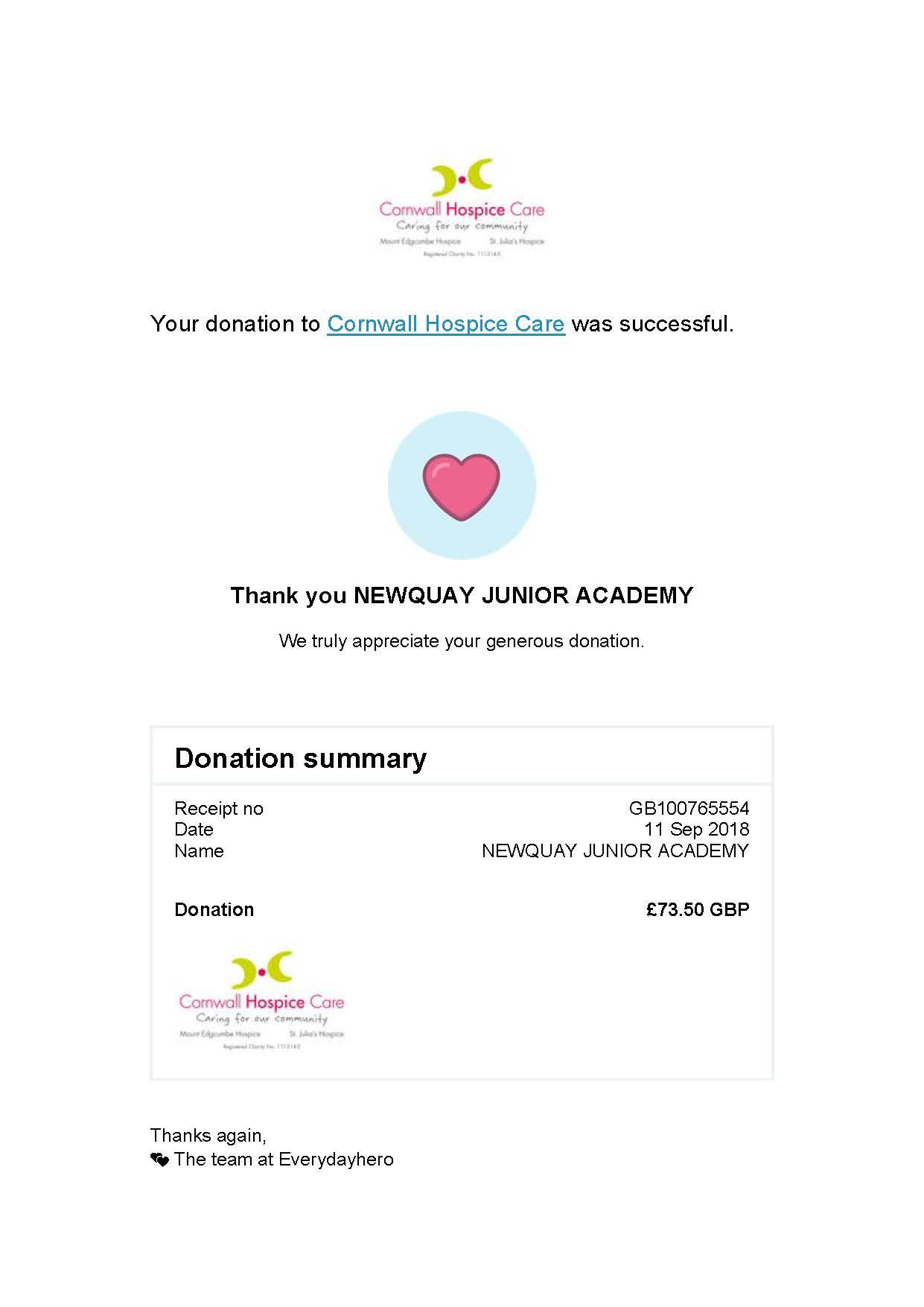 NJA World Cup Donation – Newquay Junior Academy