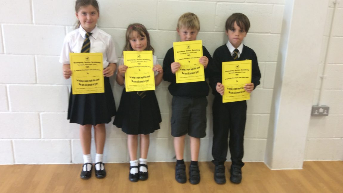 Yellow Certificate and Medal Winners – 14th September 2018