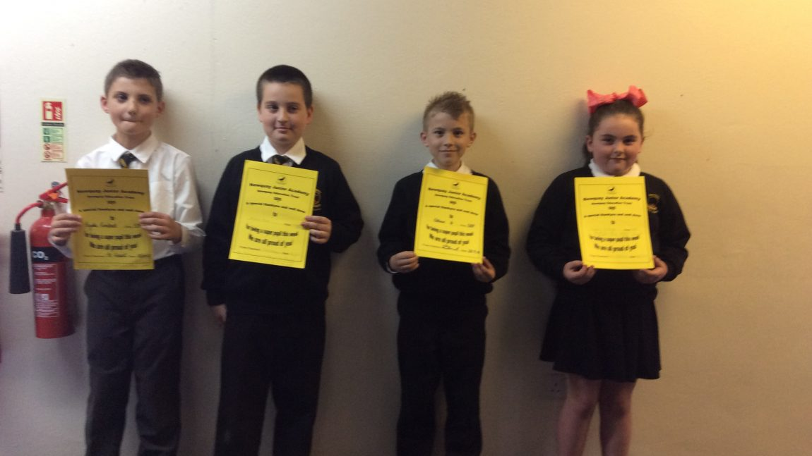 Yellow Certificate and Medal Winners – 28th September 2018