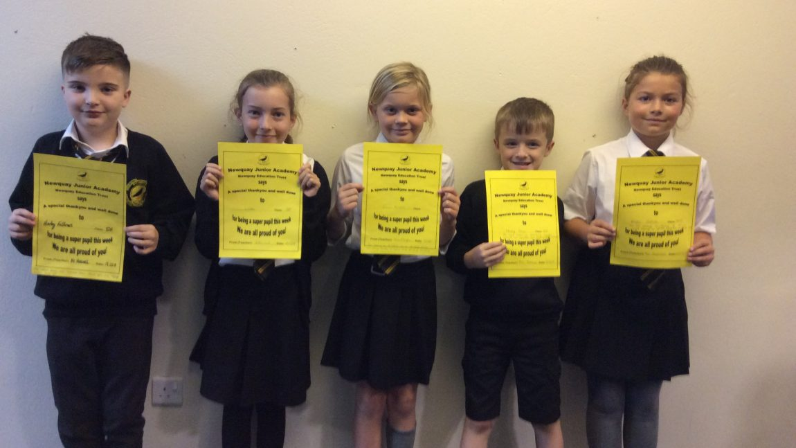 Yellow Certificate and Medal Winners – 12th October 2018