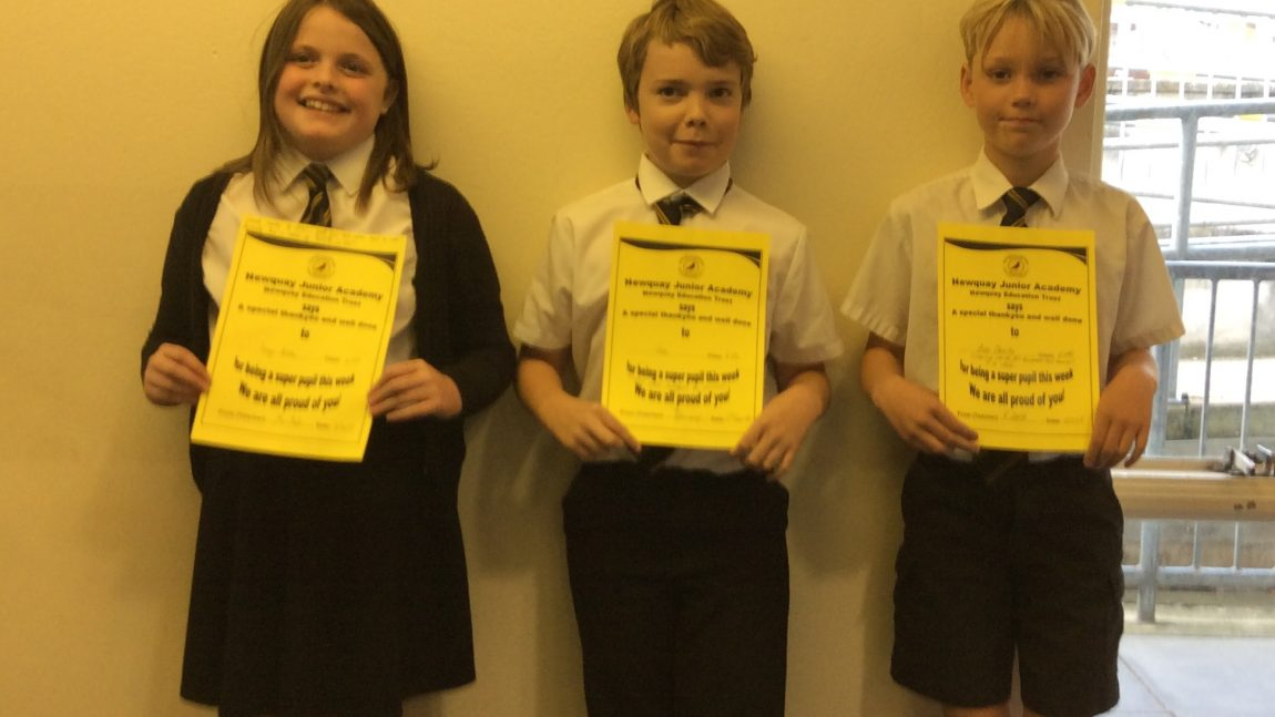 Yellow Certificate and Medal Winners – 2nd November 2018