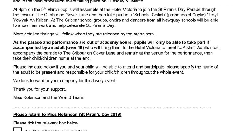 St Piran's Day letter to Parents