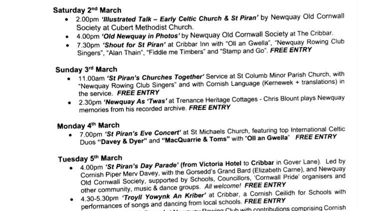St Piran's Event