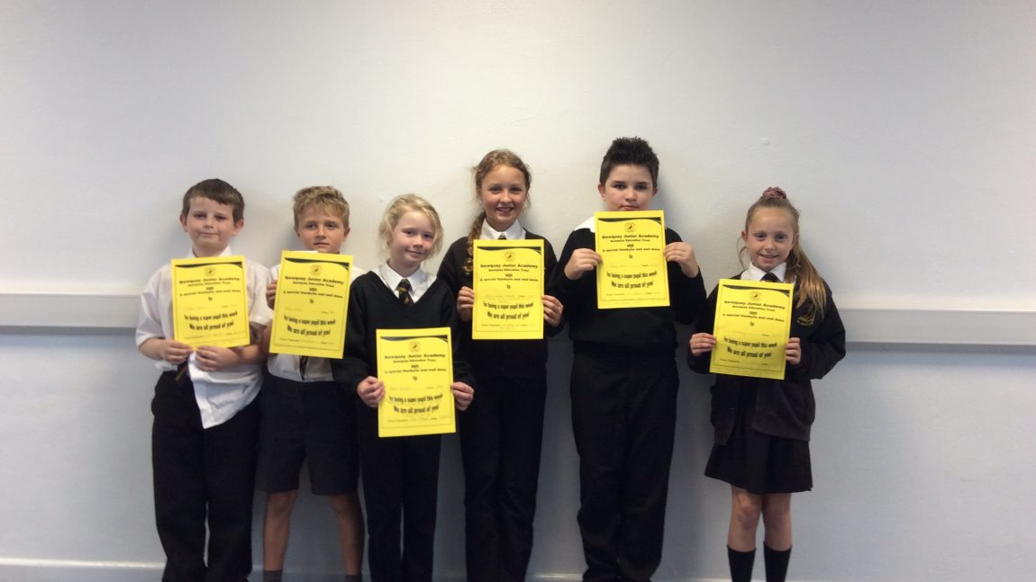 Yellow Certificate and Medal Winners – 17th October 2019