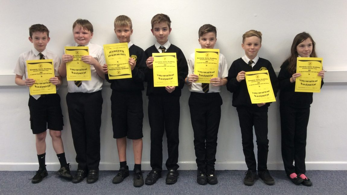 Yellow Certificate and Medal Winners – 22nd November 2019